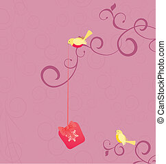 vector cartoon birds with christmas gift on pink flourishes background illustration
