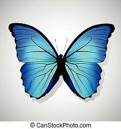 Vector Cartoon Blue Butterfly