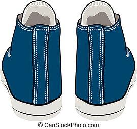 vector cartoon blue sneakers