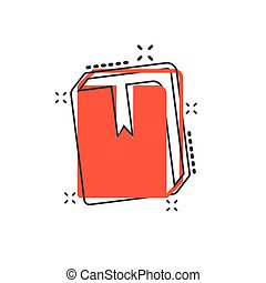 Vector cartoon book library icon in comic style. Education concept illustration pictogram. Book business splash effect concept.