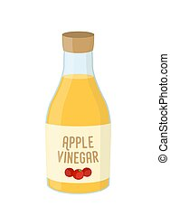 Vector cartoon bottle of apple vinegar, yellow condiment