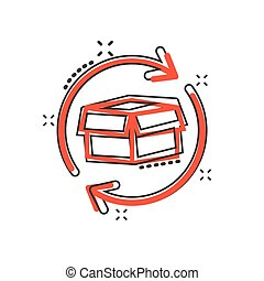 Vector cartoon box package return icon in comic style. Delivery box with arrow concept illustration pictogram. Cargo shipping business splash effect concept.