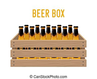 Vector cartoon box with beer bottles. Grocery basket with alcohol drink