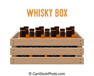 Vector cartoon box with whiskey bottles. Grocery basket with alcohol drink