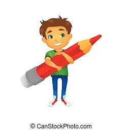 vector cartoon boy keeping pencil in hand