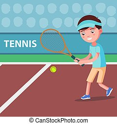 Vector cartoon boy playing tennis on the court