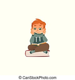 Vector cartoon boy reading sitting at big book