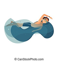 vector cartoon young teen boy swimming in stylized water pool in goggles, watches. Male man athlete in sport clothing training. Isolated illustration on a white background.