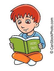 Vector cartoon boy with book.