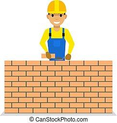 Vector cartoon bricklayer is building a brick wall