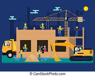 Vector cartoon builders on a construction site