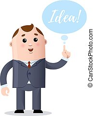 Vector cartoon businessman who has a great idea
