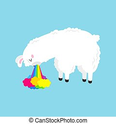 Vector cartoon card. Cute poster with funny llama nauseous ...