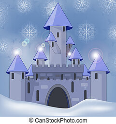 vector cartoon castle in witer at night