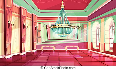 Vector cartoon castle palace ballroom background