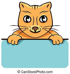 Vector cartoon cat with a poster