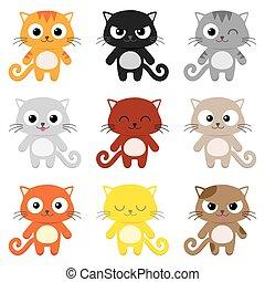 Vector cartoon cats