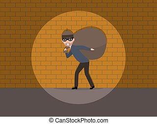 Vector cartoon caught a burglar by the wall