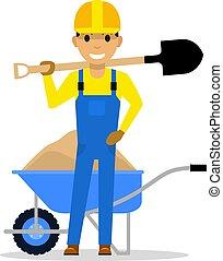 Vector cartoon character builder holding a shovel