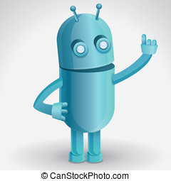 Vector cartoon character - funny robot