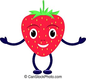 Vector cartoon character smiling red strawberry