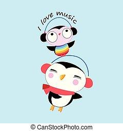 Vector cartoon cheerful penguin and owl