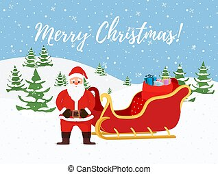 Vector cartoon Christmas background with Santa Claus, sleigh