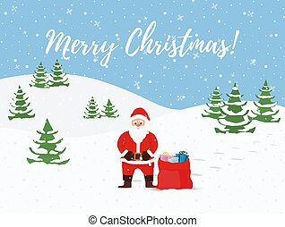 Vector cartoon Christmas background with Santa Claus