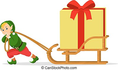 Vector cartoon Christmas elf sleigh with gift box