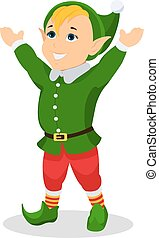 Vector cartoon christmas elf stands with hands up