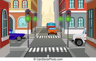 Vector cartoon city crossroad with traffic lights