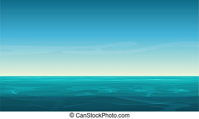 Vector cartoon clear ocean sea background with empty blue sky.