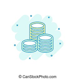 Vector cartoon coins stack icon in comic style. Money coin sign illustration pictogram. money business splash effect concept.