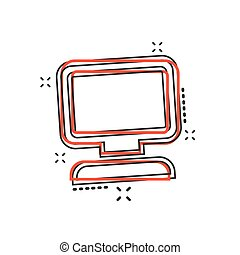 Vector cartoon computer icon in comic style. Monitor sign illustration pictogram. Pc business splash effect concept.