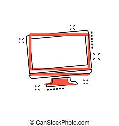 Vector cartoon computer icon in comic style. Monitor sign illustration pictogram. Tv business splash effect concept.
