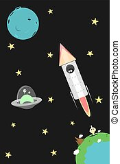 Vector cartoon cosmos illustration