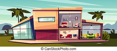 Vector cartoon cottage, detached house cross section