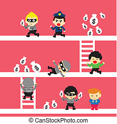 vector cartoon crime and people
