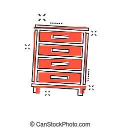 Vector cartoon cupboard icon in comic style. Furniture sign illustration pictogram. Cabinet business splash effect concept.
