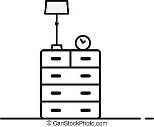 Vector cartoon cupboard with lamp furniture. Flat illustration.