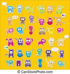 vector cartoon cute cats set