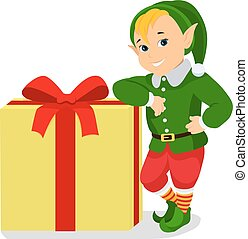 Vector cartoon cute christmas elf with gift box