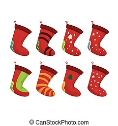 vector cartoon cute christmas stocking with color ornament...