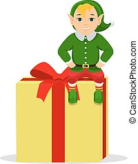 Vector cartoon cute elf sitting on a box with gift