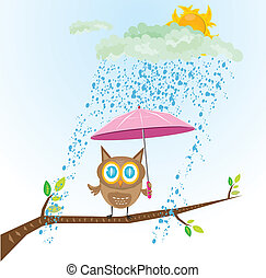 vector cartoon cute little owl bird on tree branch