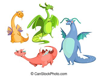 Vector cartoon cute magic colorful dragons set