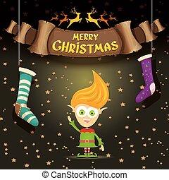 vector cartoon cute merry Christmas elf