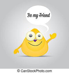 Cartoon cute friendly monster on grey background