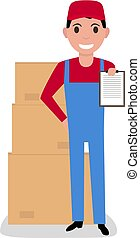 Vector cartoon delivery man with cardboard boxes