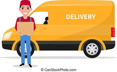 Vector cartoon delivery man with carton box a car
